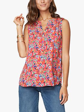 NYDJ Floral Sleeveless Pintuck Blouse, Petunia Blossoms