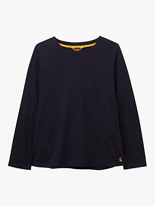 Joules Selma Long Sleeve Round Neck Cotton Top, Navy