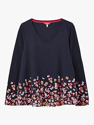 Joules Harbour V-Swing Floral Jersey Top, Navy