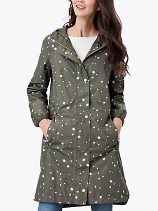Joules Weybridge Star Print Packable Raincoat, Khaki
