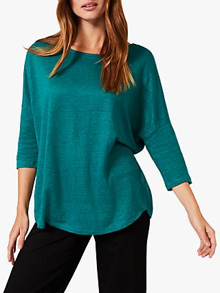 Phase Eight Catrina Linen Top, Pool Green