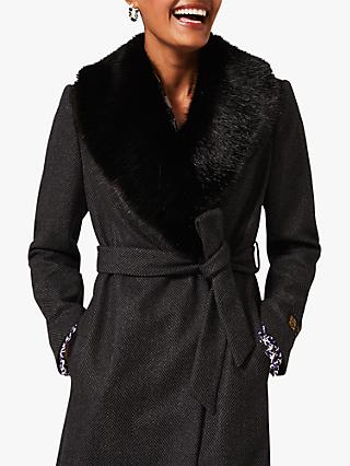 Phase Eight Elsie Herringbone Faux Wool Coat, Charcoal