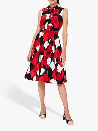 Hobbs Belinda Abstract Print Midi Dress, Red/Multi