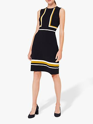 Hobbs Etta Knitted Colour Block Mini Dress, Navy/Multi