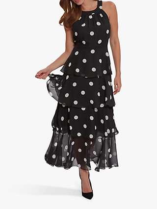 Gina Bacconi Kim Polka Dot Dress, Black