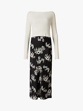 AllSaints Hera Jasmine 2-in-1 Midi Dress, White/Black