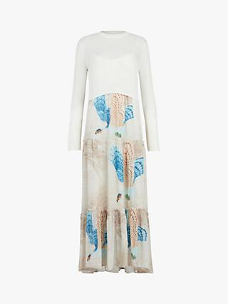 AllSaints Tilly Swoop 2 in 1 Jumper Top Floral Print Slip Dress, Ecru White