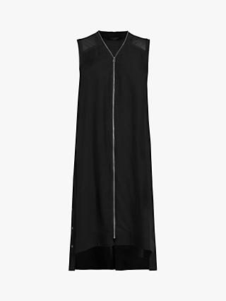 AllSaints Lottie Zip Front Sheer Shoulder Midi Dress