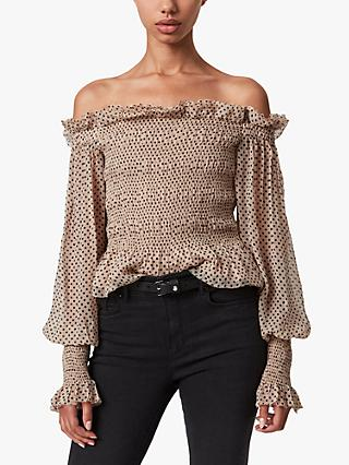 AllSaints Lara Spot Print Ruched Bardot Top, Light Pink