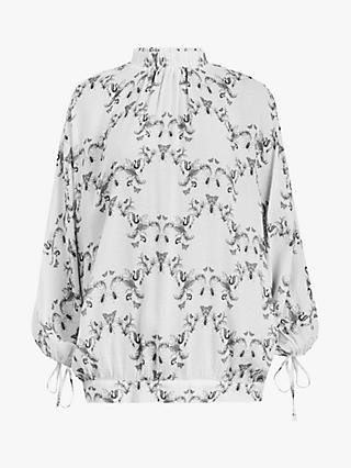 AllSaints Rora Assam Nature Print Funnel Neck Blouse, White