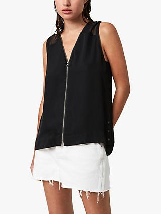AllSaints Lottie Zip Front Sheer Shoulder Top, Black