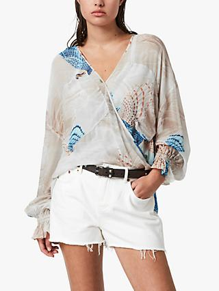 AllSaints Penny Swoop Sea Shell Print Top, Ecru White