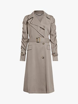 AllSaints Cecil Trench Coat, Pebble Grey