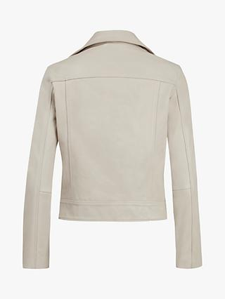 AllSaints Kara Leather Biker Jacket, White