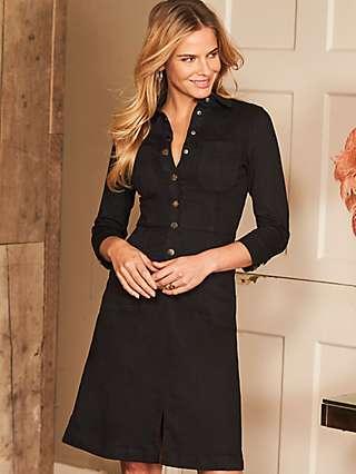 Sosandar Popper Front Stretch Denim Dress, Black