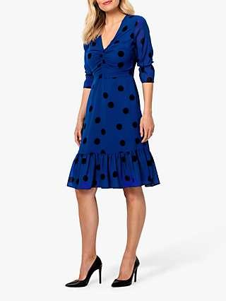 Sosandar Spot Print Fit And Flare Dress, Blue