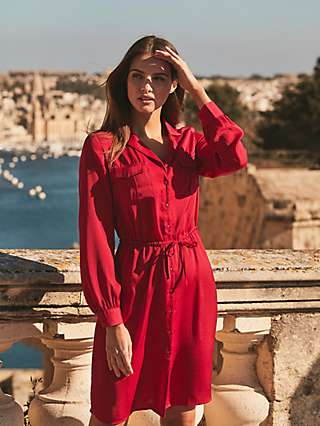 Sosandar Pocket Detail Tie Waist Shirt Dress, Red