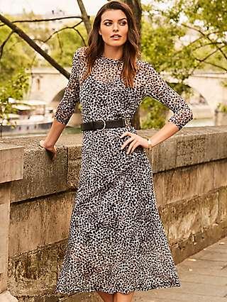 Sosandar Mesh Snow Leopard Print Midi Dress, Black