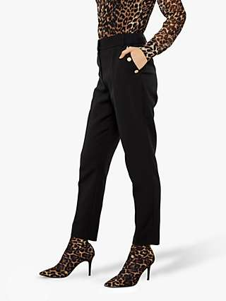 Sosandar Slim Leg Button Detail Trousers, Black