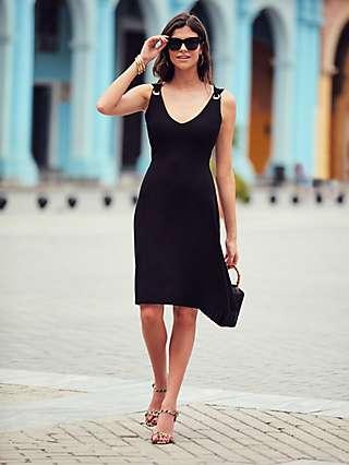 Sosandar Eyelet Detail Knee Length Dress, Black