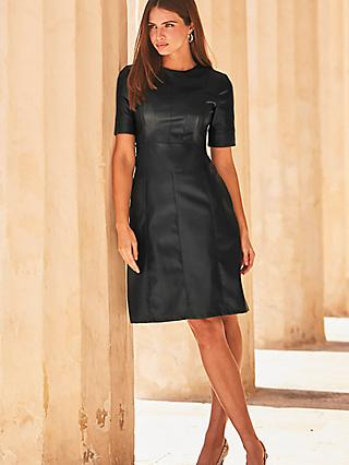 Sosandar Leather Look Panelled Shift Dress, Black
