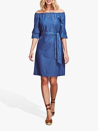 Sosandar Bardot Chambray Frill Sleeve Dress, Blue