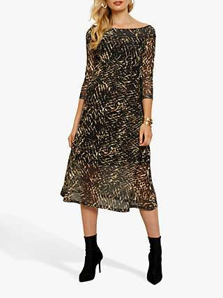 Sosandar Printed Bardot Mesh Midi Dress, Black