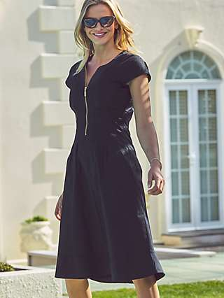 Sosandar Zip Neck Fit And Flare Dress, Black