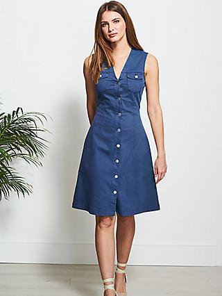 Sosandar Sleeveless Denim Knee Length Dress, Blue