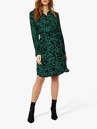 Sosandar Morocco Print Belted Shirt Dress, Green