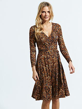 Sosandar Animal Print Wrap Front Dress, Golden