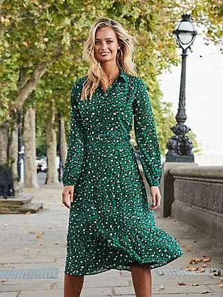 Sosandar Leopard Print Tiered Shirt Dress, Green