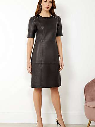 Sosandar Leather Zip Shift Knee Length Dress, Black