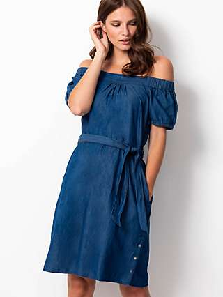 Sosandar Bardot Chambray Pocket Knee Length Dress, Indigo