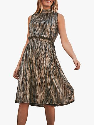 Sosandar Metallic Stripe Halter Neck Dress, Gold/Black