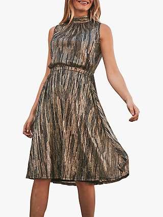 Sosandar Metallic Stripe Halter Neck Dress, Gold/Black