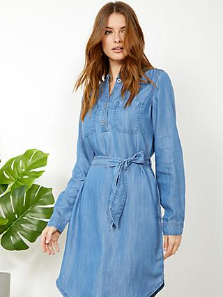 Sosandar Denim Belted Mini Dress, Blue