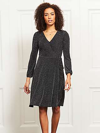 Sosandar Metallic Wrap Dress, Black