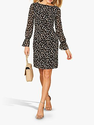 Sosandar Fleck Print Fluted Cuff Shift Dress, Black