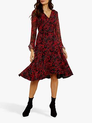 Sosandar Abstract Poppy Print Wrap Dress, Black/Red