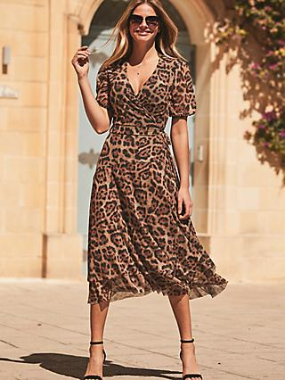 Sosandar Leopard Print Mesh Wrap Dress, Brown