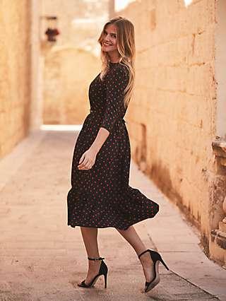 Sosandar Floral Print Tiered Hem Belted Midi Dress, Black/Red