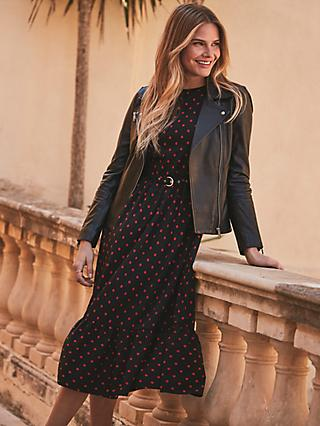 Sosandar Floral Print Tiered Hem Belted Midi Dress, Black/Red
