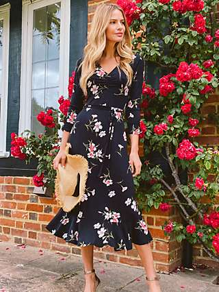 Sosandar Floral Print Jersey Midi Dress, Black
