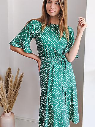 Sosandar Diamond Print Jersey Dress, Green