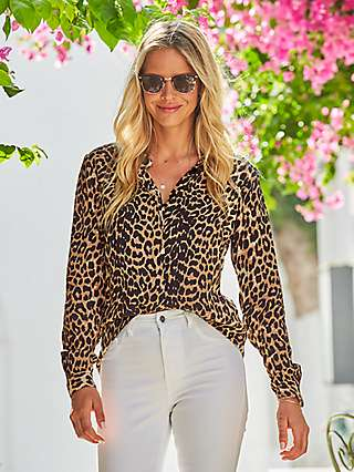 Sosandar Leopard Print Blouse, Brown