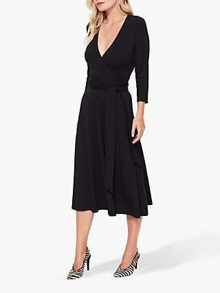 Sosandar Tie Waist Wrap Dress, Black