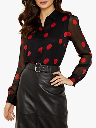 Sosandar Spot Print Shirt, Black/Red