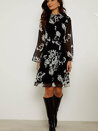 Sosandar Floral Print Belted Shift Dress, Black/White
