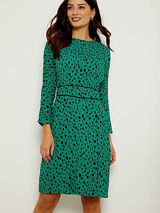 Sosandar Spot Print Waist Detail Dress, Green